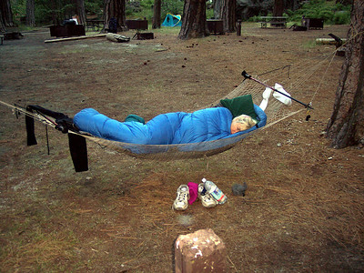 Your guide, Karen, fast asleep in her summer home, the Tuolumne Backpacker's Camp. Gave up coffee.