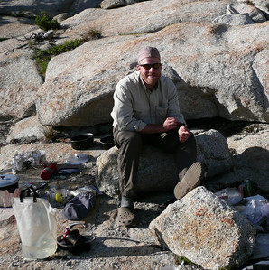 Guide Peter, cooking dinner. Pork products and photography are his specialty.... along with Half Dome. Indoor job is middle school music teacher in NY.