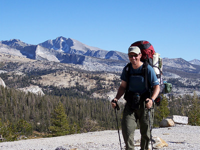 Guide Mike atop the ridge above Mildred Lake in Yosemite.The face that launched a sold out 2008 season, the first week of April.