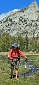 Guide Virginia barefootin' in Cathedral Meadow.
