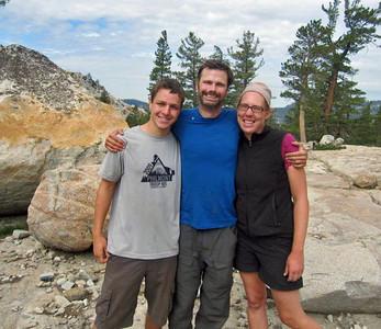 Guides Michael H., Banning, and Carolyn at Grants Lake, Yosemite on the Ten Lakes Trip.