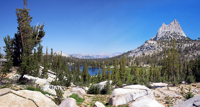 Saturday's view back to where we've come from: Upper Cathedral Lake and Cath. Peak.