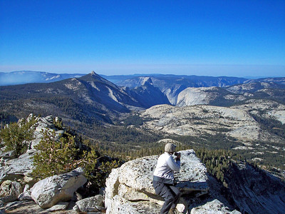 Clouds Rest, Half Dome, Yosemite Valley, and Mt. Watkins from atop Tenaya Peak.