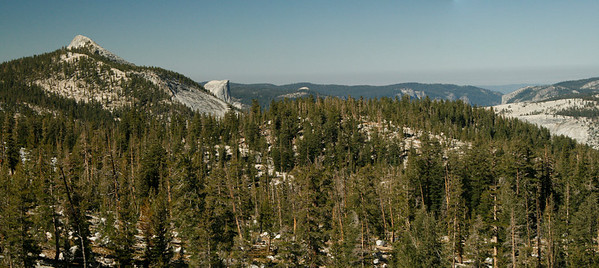 The top of Yosemite: Clouds Rest, Half Dome and points West from our morning walk.