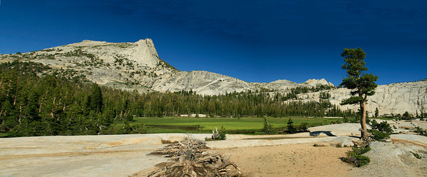The scene at Lower Cathedral Lake with a funky photomerg perspective.