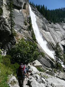 Descending past 600 foot high Nevada Falls.