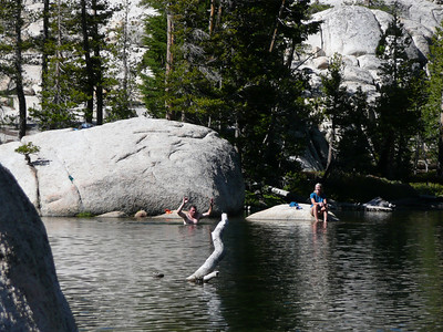 Taking a dip in Sunrise Lakes.