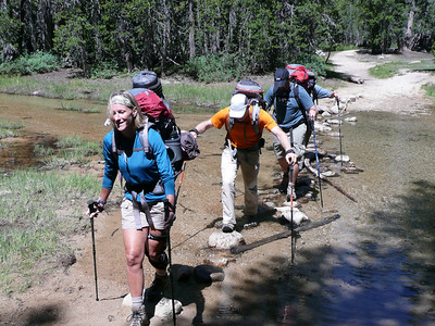 Crossing the outlet of Tenaya Lake to begin our ascent to the Sunrise Lakes.