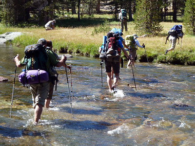 Crossing the creek to our campsite.