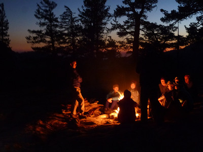 Evening campfire at Lower Grant Lake.