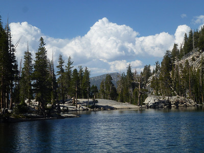 Our lake at our secret Grand Mountain Camp in Ten Lakes Basin.