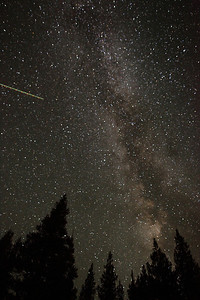 The Milky Way over Tuolumne Meadows, with satellite, on a 20 second exposure.
