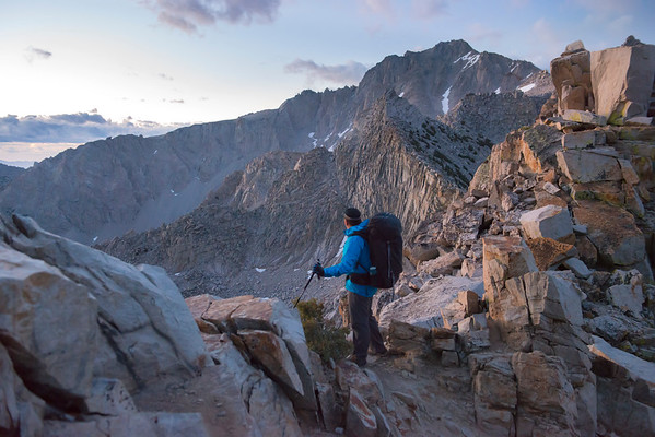 Darren reaching Kearsarge Pass at Sunrise