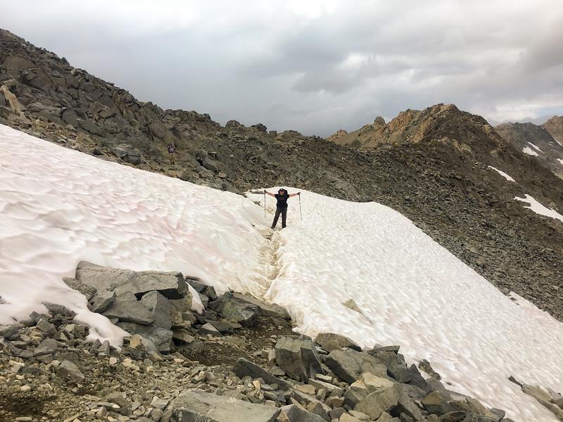 Still snow on Glen Pass in early September