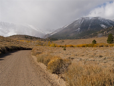 Parker Lake Road Curve under Misty Mountains Copyright 2009 Neil Stahl