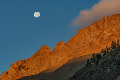 Moonset Over Peaks at North Lake