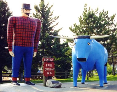 Paul Bunyan and his blue ox, Babe - statues at Bemidji, Minnesota.  Had to get this photo off the internet as I have no idea where my own (which is very similar but of better quality) might be located.