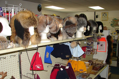 Fur hats crafted by neighbor Joy Hobbs from furs her husband Steve traps.
