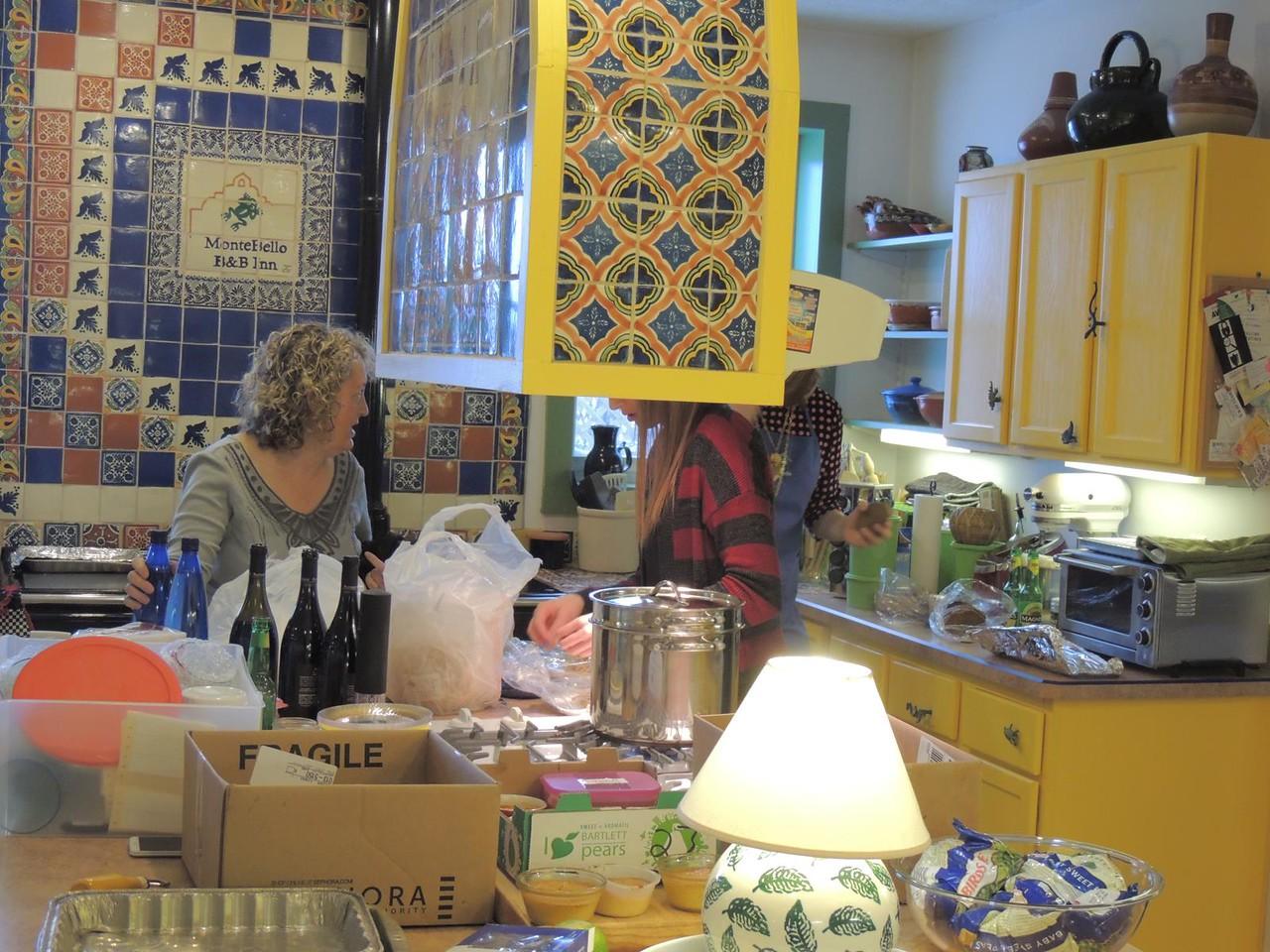 Prairie States Mushroom Club Winter dinner at Montebello Inn. Working hard in the kitchen.
