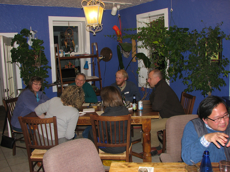 Prairie States Mushroom Club Winter dinner at Montebello Inn. After the meal, we all just and talked for a while.