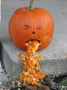 The day after Halloween. My pumpkin ate too much candy.
