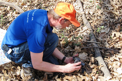 Glen takes pictures of the Devil's Urns. Overall we found 53 on our 3 mile hike.
