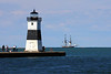 Presque Isle North Pier Head Lighthouse with USS Niagara