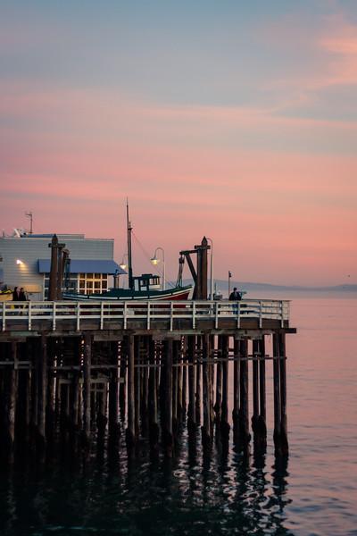 santa cruz boardwalk at sunset