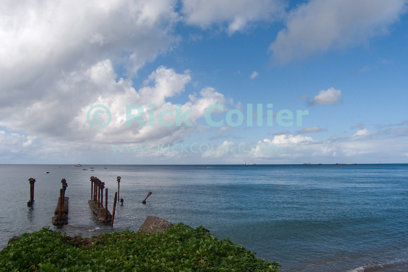 St. Eustatius (Statia) - The view to sea (including ruins of an old dock) in front of Dive Statia.  © Rick Collier