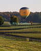 """Tethered"" -- A hot air balloon has tied up to a tree to wait for a favorable wind over a distant field at the annual Winchester Balloon Festival.  Long Branch Farm, Winchester, Virginia, USA.  © RickCollier.com<br /> <br /> <br /> <br /> <br /> <br /> ""balloon festival""; USA; Virginia; Winchester; ""Long Branch""; ""Long Branch Farm""; field; tree; fence; fences; dawn; morning; dew; frost; balloon; lift; ""balloon lift"";"