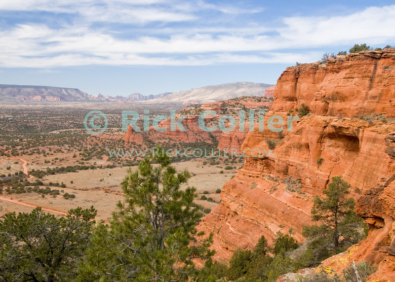 Doe Mesa, Sedona, Arizona.  The desert spreads out between colorful rock formations and cliffs surrounding Sedona.  At one time, native Americans lived in natural caves such as the one visible in the nearby cliff framing this view.  © Rick Collier<br /> <br /> <br /> <br /> <br /> <br /> <br /> <br /> US USA Arizona Sedona hiking trail desert tree trees rest calm relax serene scenic view red sand red rocks rocky mesa butte mountain cave cliff