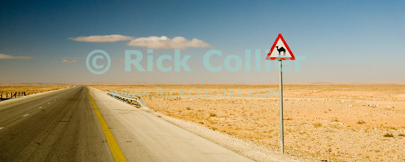 """Camel Crossing"" -- A sign warns of a hazard nowhere in evidence, on the road to Petra, Jordan.  © Rick Collier<br /> <br /> <br /> <br /> Jordan highway 'desert highway' desert camel 'camel crossing' sign barren empty"