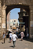 "Cairo, Egypt -- Bab Zuwayla gate.  One of the three first gates installed around the historic walled city of Cairo, standing at the southern boundary of old Fatimid Cairo.  The two minarets atop this tower actually belong to the nearby Mosque of al-Mu'ayyad, which sits just inside this gate (on the left).  For a small fee, it is possible to climb the minarets for a spectacular view of old and new Cairo. © Rick Collier / RickCollier.com.<br /> <br /> <br /> <br /> <br /> <br /> travel; vacation; tour; tourism; tourist; destination; Egypt; Cairo; city; view; gate; walls; bab; ""Bab Zuwayla""; Zuwayla; minaret; Fatimid; Fatmid; ""city gate""; ""Islamic Cairo"";"