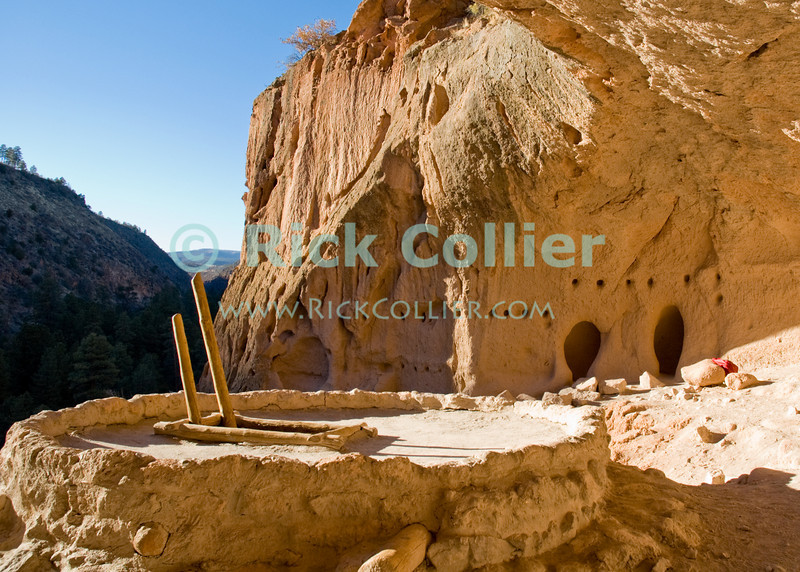 "Bandelier National Monument, near Los Alamos and Santa Fe, New Mexico, USA.  A reconstructed ceremonial kiva and dwelling caves at the edge of ""Alcove House"" (formerly known as ""Ceremonial Cave"" is located about 140 feet above the floor of Frijoles Canyon.  This dwelling is reached by four ladders, and once housed some 25 native american ancestral puebloans.  © Rick Collier<br /> <br /> <br /> <br /> <br /> <br /> <br /> US USA New Mexico Santa Fe Bandelier National Monument Frijoles Canyon valley canyon ancestral puebloan native American Ceremonial cave dwelling kiva Alcove House view tree trees forest woods"