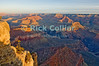 The Grand Canyon, Arizona, USA.  Sunrise brings color to the Grand Canyon on a cool February morning.  Snow is visible on the upper ledges.  © Rick Collier<br /> <br /> <br /> <br /> <br /> <br /> <br /> <br /> US USA Arizona Grand Canyon Colorado River sun sunrise shadow day daylight dawn tree cliff overlook river bed riverbed valley snow