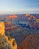 The Grand Canyon, Arizona, USA.  Sunrise brings color to the Grand Canyon on a cool February morning.  Snow is visible on the upper ledges.  © Rick Collier<br /> <br /> <br /> <br /> <br /> <br /> <br /> <br /> US USA Arizona Grand Canyon Colorado River sunrise sun rise daybreak dawn tree cliff overlook river bed riverbed valley snow