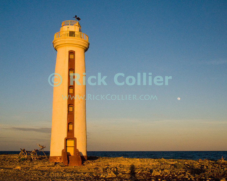 """Bonaire, Netherland Antilles -- Willemstoren lighthouse stands alone at the southernmost end of Bonaire.  Next to the lighthouse stands one of the many """"sculptures"""" created from driftwood and flotsam by artistically inclined beachcombers all along the southern and eastern coasts of Bonaire.   © Rick Collier<br /> <br /> <br /> <br /> <br /> Bonaire; """"Netherlands Antilles""""; Caribbean; tropic; tropical; vacation; destination; light; lighthouse; sea; ocean; seashore; view; sculpture; """"beach sculpture""""; driftwood; flotsam; Willemstoren; """"Willemstoren lighthouse"""";"""