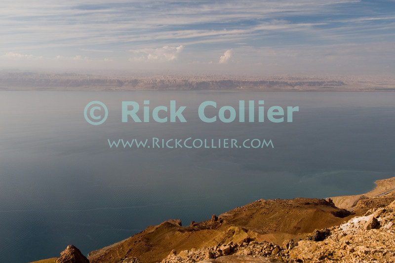 """The view of Israel on the opposite side of the Dead Sea, as seen from the new """"panoramic overlook"""" recently completed in 2007 near the north end of the Dead Sea, in Jordan.  © Rick Collier<br /> <br /> <br /> <br /> <br /> Jordan 'Dead Sea' Israel panorama panoramic sea ocean view"""
