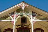 """Woodwork"" - Ornate trimwork is common on the lovely beach houses at Ocean Grove, New Jersey, USA.<br /> <br /> <br /> USA ""New Jersey"" NJ ""Ocean Grove"" Ocean Grove building scrollwork trim detail onamentation decoration decor roof peak eve"