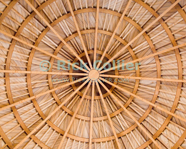 The reconstructed wooden ceiling in the audience hall of the Umayyad Palace was built of wood in the original building style and with historical techniques.   © Rick Collier<br /> <br /> <br /> <br /> <br /> <br /> <br /> Jordan Amman roof ceiling wood wooden dome Umayyad 'Umayyad Arabs' 'Umayyad Palace' reception hall reconstruction