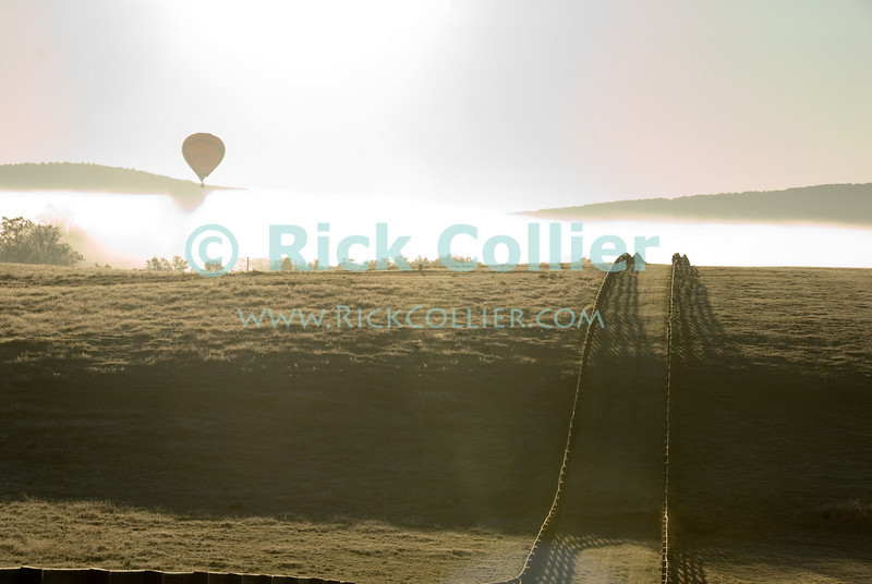 """""""Into the Light"""" -- The rising sun backlights a passing hot air balloon in the mist behind frost-covered fields at dawn.  Long Branch Farm, Winchester, Virginia, USA.  © RickCollier.com<br /> <br /> <br /> <br /> <br /> <br /> """"balloon festival""""; USA; Virginia; Winchester; """"Long Branch""""; """"Long Branch Farm""""; morning; balloon; lift; """"balloon lift""""; """"hot air balloon""""; fly; flight; flying; silhouette; sunrise; dawn; field; pasture; fields; pastures; fence; fences; frost; mist; fog; dew; morning; sun; sunlight;"""