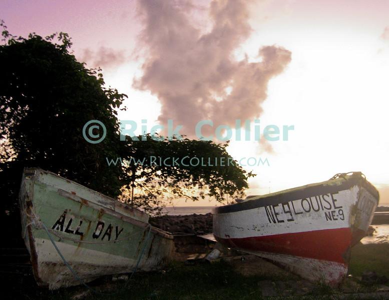 St. Eustatius (Statia) - Fishing boats on shore await the next day on a Caribbean island.  © Rick Collier
