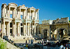 The Library at Ephesus, in modern-day Turkey.  The ancient Roman Celsus Library stands at the center of ancient Ephesus, flanked by the Gate of Augustus.  The home of the Biblical Ephesians and site where portions of the Book may have been written, the city dates from the Hellenestic (Greek) empire and was subsequently one of the principle cities of the Roman empire.  The city was famed for the Temple of Artemis (Diana), who had her chief shrine there, the Library of Celsus, and its theater, which was capable of holding 25,000 spectators. Ephesus is believed to be the city of the Seven Sleepers. The story of the Seven Sleepers, considered saints by Christians and Muslims, tells that they were persecuted because of their belief in God and that they slept in a cave near Ephesus for centuries.  © Rick Collier<br /> <br /> <br /> <br /> <br /> <br /> <br /> Turkey Ephesus Ephessus Rome Roman Empire Greek Greece Hellenistic Artemis Diana Cayster River Bible Biblical ruin ruins archeology archeological tour tourims tourist view street road column columns temple temples theater amphitheater Celsus Library Gate of Augustus