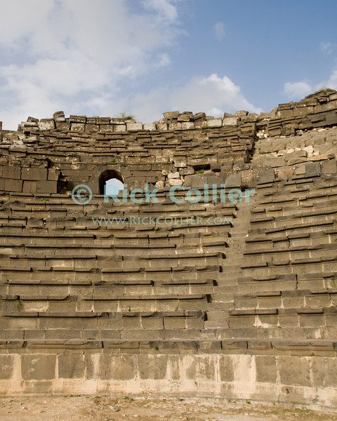 The primary Roman theater at Gadara, now Umm Qais, in northwest Jordan.  © Rick Collier<br /> <br /> <br /> <br /> Jordan 'Umm Qais' Ottoman Roman Gadara Gadarenes Bible Biblical ruin ruins 'ancient world' archeology 'archeological site' amphitheater theater classical