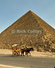 "Giza, Cairo, Egypt -- A horse-drawn carriage ""taxi"" waits for a tourist rider in the shadow of the Great Pyramid of Khufu (Cheops). © Rick Collier / RickCollier.com<br /> <br /> <br /> <br /> <br /> <br /> travel; vacation; destination; Egypt; Cairo; Giza; pyramids; pyramid; ""Pyramids at Giza""; Cheops; Khufu; ""Great Pyramid""; ""horse-drawn carriage""; cart; carriage; horse"