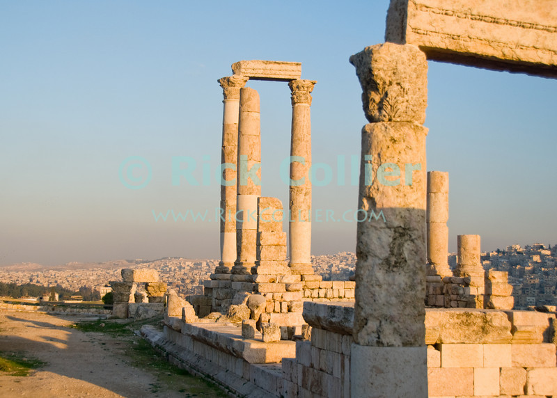 The remains of the Roman temple of Hercules, located at the Citadel atop the central hill in Amman, Jordan.  The temple was originally built in the time of Marcus Aurelius.  © Rick Collier<br /> <br /> <br /> <br /> <br /> <br /> <br /> Jordan Amman Rome 'Roman Empire' 'Roman Philadelphia' ancient antiquity tourism tourist 'Roman forum' city Islamic buildings apartments 'city center' history historic classic classical citadel Hercules 'Temple of Hercules' acropolis panorama panoramic view ruin ruins archaeology archaeological column columns capital capitals