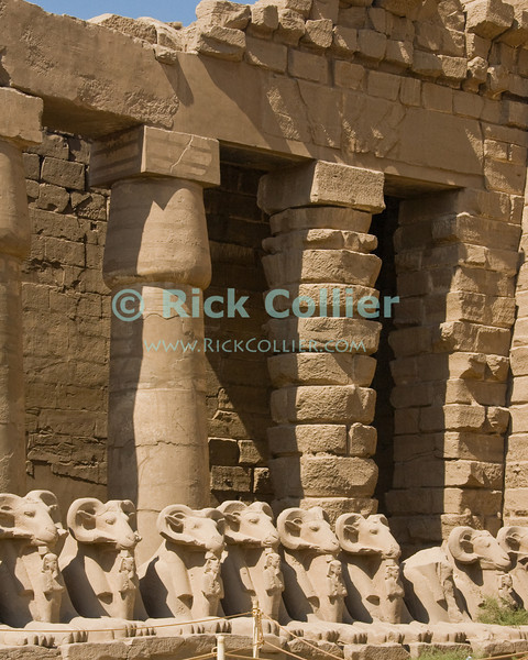 Karnak, outside Luxor, Egypt.  The last in a row of columns, next to the unfinished first (outer) pylon, reveals that the last pharoah's improvements to the great Temple of Amun (or Amon) in Karnak were never actually finished.  The home of Amon (the Sun God), Karnak was the center of Egyptian spiritual life during the middle and late kingdoms.  It was continuously being improved by successive pharoahs over a period of about 1300 years. © Rick Collier<br /> <br /> <br /> <br /> <br /> <br /> <br /> Egypt Egyptian Karnak Amon Amun tourist tourism history historic antiquity antiquities ruins temple tomb pylon wall column pillar ramp ancient 'ancient Egypt' Thebes Theban Thebian