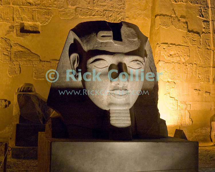 The illuminated face of Ramses II welcomes the visitor to Luxor Temple, Egypt.  Dedicated to the Theban triad of Amun-Min, Mut, and Konsu, Luxor Temple standing in the center of town is lit up at night.  © Rick Collier<br /> <br /> <br /> <br /> <br /> <br /> <br /> Egypt Egyptian Karnak Luxor Amon Amun tourist tourism history historic antiquity antiquities ruins temple tomb pylon wall column pillar ramp ancient 'ancient Egypt' Thebes Theban Thebian Mut Konsu Amun-Min Khonsu obelisk pylon wall Ramses 'Ramses II' statue colossus colossi night illumination lights dark 'after dark' nighttime