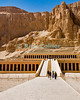 "Luxor, Egypt -- The funerary temple of Hatshepsut, cut into the cliffs at the west edge of the Nile River valley at Deir el-Bahri, near the Valley of the Kings.  Hatshepsut famously was the queen who ruled Egypt as a king (male) and may have heretically had herself burried as Pharoah in the Valley of the Kings.  Subsequent pharoahs tried to obliterate evidence and monuments to Hatshepsut (beginning possibly from the reign of Thutmos III, several years after Hatshepsut's death and entombment). © Rick Collier / RickCollier.com.<br /> <br /> <br /> travel; vacation; tour; tourism; tourist; destination; Egypt; Luxor; valley; ""Valley of the Dead""; ""Valley of the Kings""; kings; pharoah; pharoahs; tomb; temple; ""ancient Egypt""; tombs; excavation; excavations; archaeology; Hatshepsut; ""Hatshepsut Temple""; ""Deir el-Bahri""; ""Dar el-Bahri"""