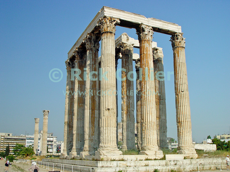 Athens, Greece.  The remains of the Temple of Olympian Zeus stands in the center of Athens.   © Rick Collier<br /> <br /> <br /> <br /> <br /> <br /> Ancient Greece Athens ruin ruins column columns capital capitals temples Temple of Olympian Zeus ruins ruin archaeology archaeological